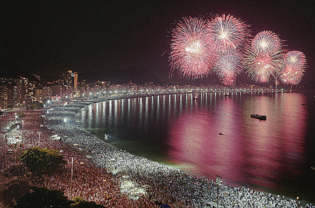 Fireworks light up the sky over the Copacabana coast during Rio's Revellion festival. (Creative Commons/Flickr)